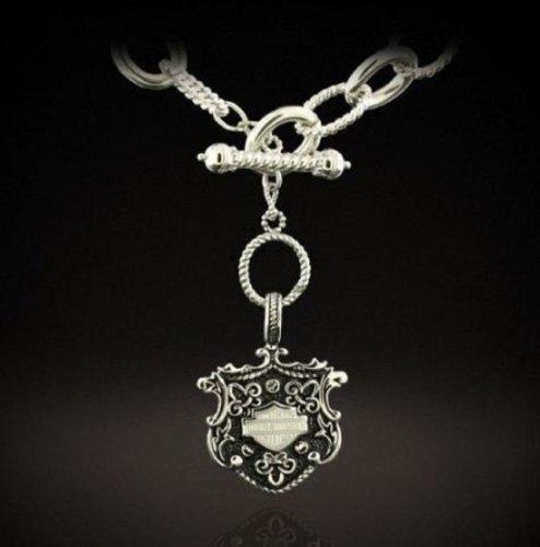 Harley-Davidson® Stamper® Women's Stainless Steel Bar & Shield 18-Inch Necklace. STN7886