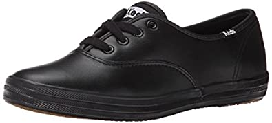 Keds Women's Champion Leather Sneaker,Black Leather,5 N
