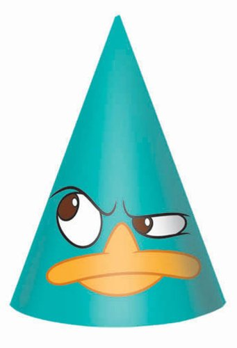 Disney Phineas and Ferb Cone Hats (8) (Aqua) Party Accessory