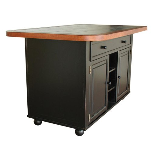 Cheap Julian Kitchen Island with Sliding Ceramic Tile Top (CY-KI-TT-02-BCH-T/B)