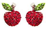 """Designer Inspired Adorable Red Sparkling Crystal Embellished Apple 1/2"""" Stud Earrings Fashion Jewelry"""