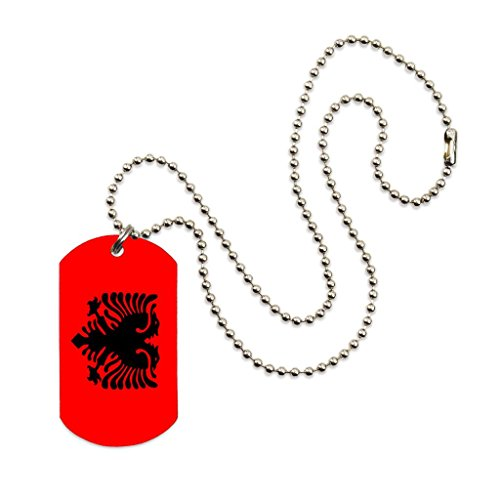 "Albania Flag Color Dog tag Necklace Pendant 24"" inch Stainless Steel Ball Chain with Giftpouch and Keyring"
