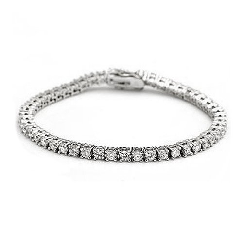 Bling Jewelry Sterling Silver 6ct Round Cubic Zirconia Prong Setting Tennis Bracelet
