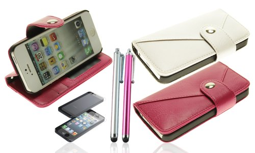 Omiu(Tm) 2Pcs/Pack Wallet Pu Leather Button Case Cover With Credit Card Slots For Iphone 5 + Screen Protectors And Stylus