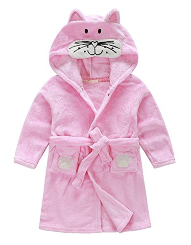 Taiycyxgan Little Girl's Coral Fleece Bathrobe Unisex Kids Robe Pajamas Sleepwear Pink Cat 110