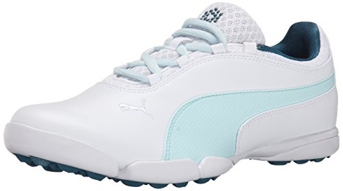 PUMA Women's Sunnylite Golf Shoe Spikeless, White/Clearwater/Blue Coral, 7.5 M US