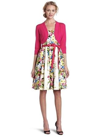 Jessica Howard Women's Bouquet Belted Dress, Multi, 8