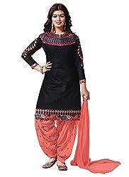 Black And Orange Fancy Cotton Patiyala Suit