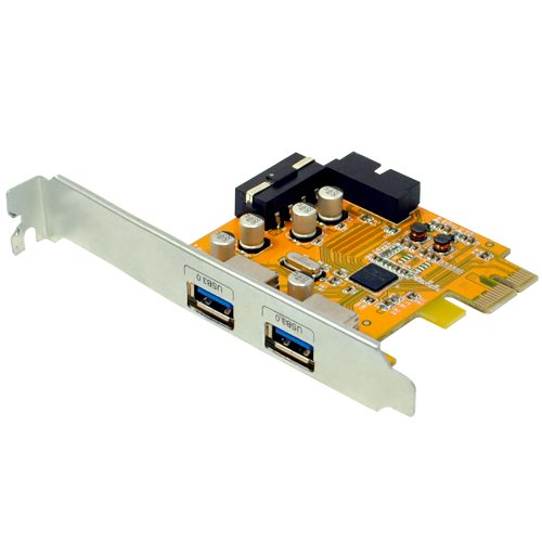 Uspeed PCI-E to USB 3.0 2-ports Express Card with 1 USB 3.0 20-pin Connector (4-pin Male Power Connector and Free Low Profile Bracket for Mini PC Included)