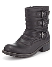 Limited Edition 3 Buckle & Strap Biker Boots with Insolia®