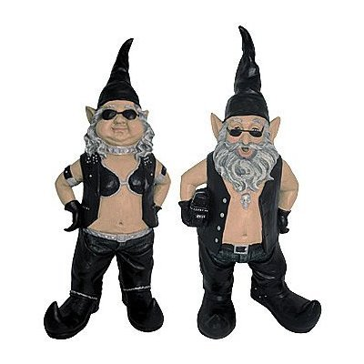 Gnoschitt and Gnofun Pair of Biker Garden Gnomes Statue Motorcycle Leather 15 Inch Figures