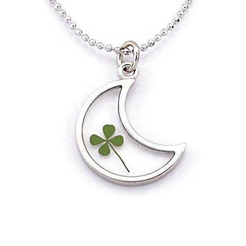 stainless-steel-real-four-leaf-clover-good-luck-clear-half-moon-pendant-necklace-16-18-inches