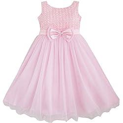 DF14 Sunny Fashion - Vestito floreale, bambina, rosa 7-8 anni