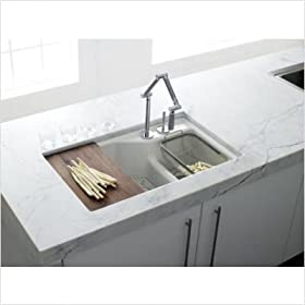 Kohler K-64112-0 Indio undercounter double offset basin kitchen sink with two-hole faucet drilling,