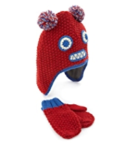 Monster Design Knitted Hat & Mittens Set