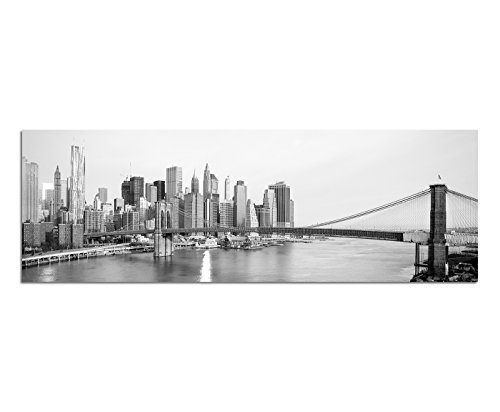 Panoramabild auf Leinwand und Keilrahmen 150x50cm Manhattan Skyline Brooklyn Bridge