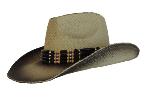 Cowboy Western Hat With Black Stained Edges And Beaded Hatband back-911347