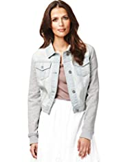 Indigo Collection Classic Collar Cropped Denim Jacket