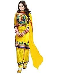 Jay Varudi Creation Women's Yellow Cottan Punjabi Patiyala Dress Materials