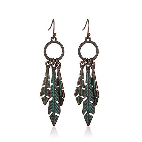[Black Friday GERGER BO Women's Retro Bronze Exaggerated Leaves Environmental Alloy Earrings(Green)] (Gumdrop Costume Ideas)