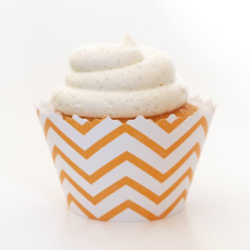 Gold Yellow Chevron Cupcake Wrappers - Set Of 12 - Centerpieces & Table Décor For Formal Dinners & Elegant Parties