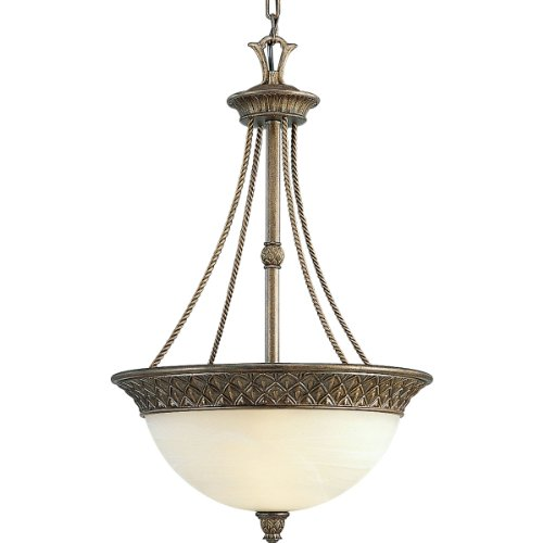 Elegant Savannah Three Light Bowl Pendant With Pineapple Accents And Antique Alabaster Glass Shade