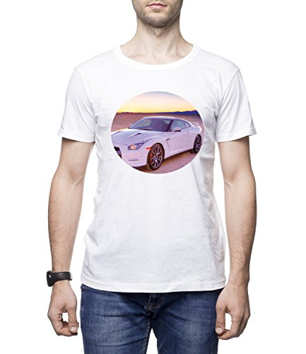 Ford Mustang Sports Car Men's Men's BEN Crew Neck CLASSIC Tshirt Bianco Small