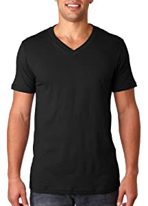 Canvas Unisex 4.2 oz. V-Neck Jersey T-Shirt - BLACK - XL