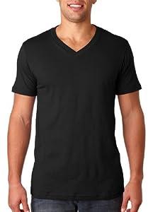 Canvas Unisex 4.2 oz. V-Neck Jersey T-Shirt - BLACK - XL