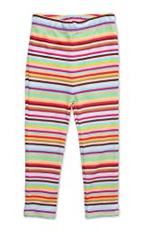 Zutano Little Girls\' Primary Stripe Skinny Legging,Super Stripe,4T