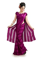 Designersareez Women Chiffon Jacquard Printed Dark Magenta Saree With Unstitched Blouse(979)