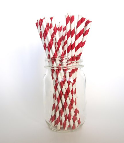 Red Gourmet Striped Patterned Holiday Straws - 25 Pack - Spice Up Hot Chocolate, Wassail, And Eggnog front-904456
