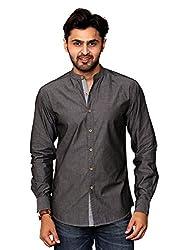 Rafters black full sleeves men's slim fit casual shirt