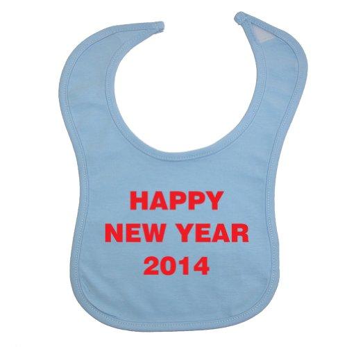 Festive Threads Unisex Baby Happy New Year 2014 Cotton Baby Bib (Light Blue) front-644487
