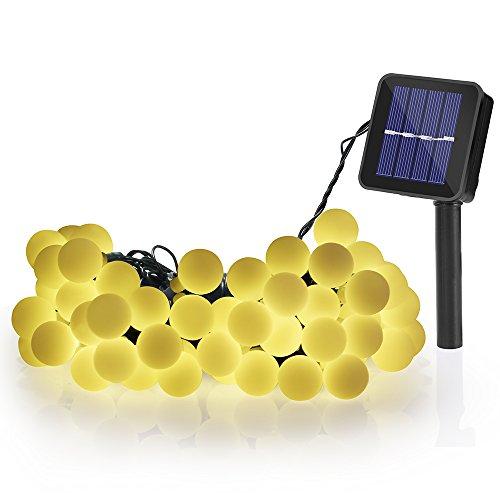 Illuminazione Balcone, Serie di Luci da Esterno 60 Palla LED Catene Luminose ad Energia Solare da 10M, Illuminazione per Giardino, Luce Solare per Esterni, Adatta a Feste, Festività Natalizie (Giallo)