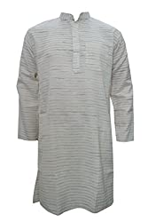 Indiatrendzs Men's Cotton Ethnic Wear Long Kurta Beige Printed Ethnic Wear