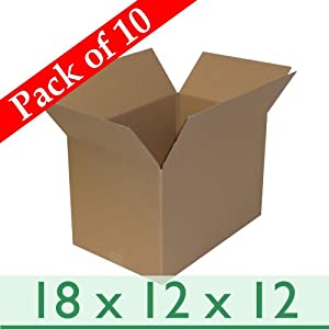 "10 LARGE SINGLE WALL BOXES 18x12x12"" + FREE p&p (457 x 305 x 305mm)"