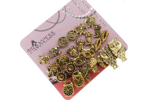Antique Gold Tone Crystal Vintage Fashion Jewelry Stud Earrings, Pack of 12 Pairs (A)