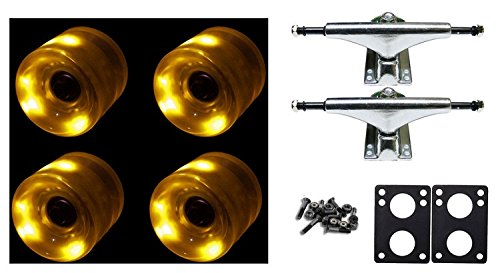 60Mm Yellow Led Wheels Night Light Skateboard Combo Trucks/Bearings/Risers
