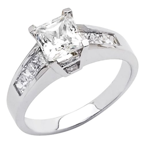 .925 Sterling Silver Round-cut CZ Cubic Ziconia Solitaire with side-stone Ladies Wedding Engagement Ring Band (Size 5 to 9) - Size 5