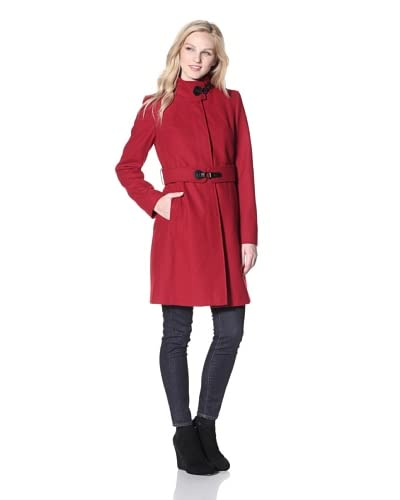 Via Spiga Women's Maria Stand-Collar Coat  - Red