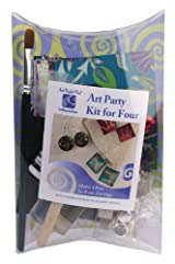 Art Night Out Party Kit for 4 People Makes 4 Pair Circle Resin Earrings in Silver Plate