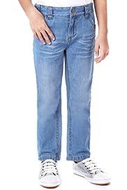 Pure Cotton Adjustable Waist Straight Leg Jeans [T77-6011P-Z]