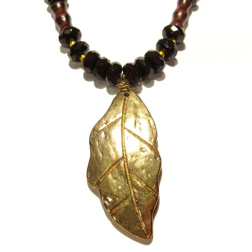 Onyx Necklace 02 Pendant Gold Leaf Black Faceted Wood Crystal Reiki Healing Beaded 19