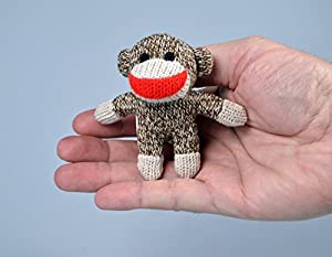 Sock Monkey Doll Miniature Edition- Original, Pocket-Sized Toy by World's Smallest at 'Sock Monkeys'