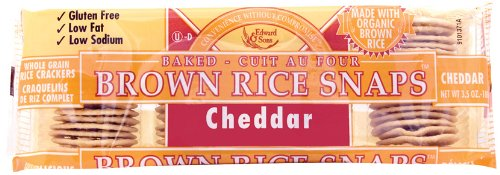 Brown Rice Snaps, Cheddar with Organic Brown Rice, 3.5-Ounce Packs (Pack of 12)