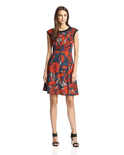 London Times Women's Printed Fit and Flare Dress