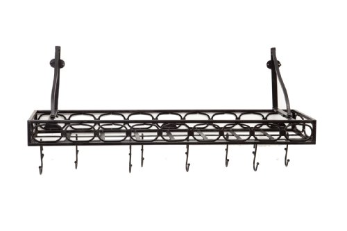 Old Dutch International Wall-Mount Bookshelf Pot Rack with 8 Hooks, Medium, Matte Black