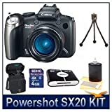 Canon Powershot SX20IS 12.1MP Digital Camera with 20x Wide Angle Optical Image Stabilized Zoom and 2.5-inch Articulating LCD Bundle w/ 4GB SD Memory, Card Reader, Case, Tripod and Lens Cleaning Kit ~ Canon