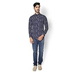 STRAK Mens' Pure Cotton Blue Abstract Designer Boat Curve Style Shirt With Full Sleeve Size:-M/40